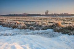 冬天领域日落 图库摄影