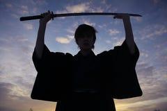 冬天领域的修士武士 免版税图库摄影