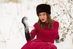 冬天领域的美丽的妇女 库存照片