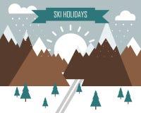 冬天风景与山、滑雪轨道和题字天空假日 图库摄影
