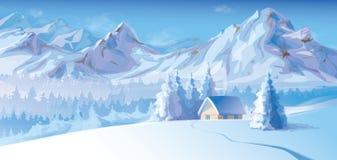 冬天风景传染媒介与山和棚的 免版税库存图片