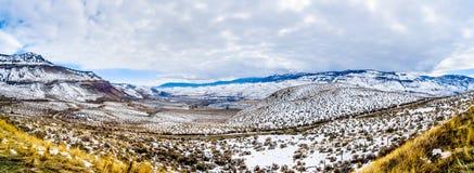 冬天风景全景在汤普森河谷的半沙漠在坎卢普斯和卡什克里克之间的在不列颠哥伦比亚省 免版税库存照片