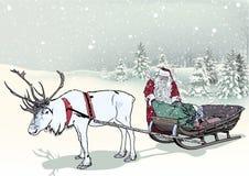 冬天风景和圣诞老人 免版税库存图片