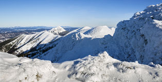 冬天风景和峰顶在Mala Fatra国家公园,斯洛伐克 免版税图库摄影
