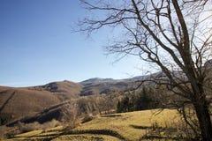 冬天风景在一个晴天利古里亚亚平宁山脉 库存图片