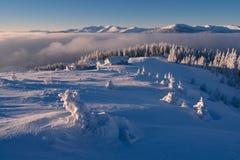冬天风景在一个晴朗的早晨 免版税库存图片