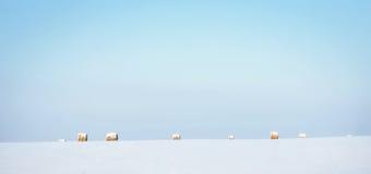 冬天风景在与清楚的蓝天和遥远的干草的晴天滚动 免版税图库摄影