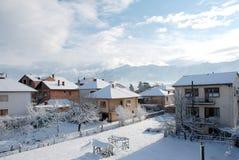 冬天风景在城市 免版税库存照片