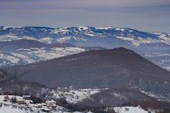 冬天风景在新帕扎尔,塞尔维亚 库存照片