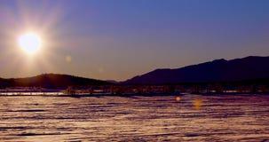 冬天风景在日落的挪威 免版税库存照片
