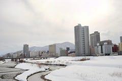 冬天风景在札幌,北海道,日本2018年 库存照片