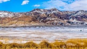 冬天风景在汤普森河谷的半沙漠在坎卢普斯和卡什克里克之间的在中央不列颠哥伦比亚省 库存照片