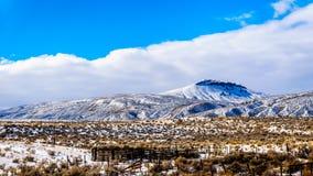 冬天风景在汤普森河谷的半沙漠在坎卢普斯和卡什克里克之间的在中央不列颠哥伦比亚省 免版税库存图片