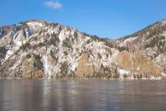 冬天风景在西伯利亚 免版税库存图片