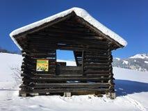 冬天风景在Goldegg,奥地利 免版税库存图片