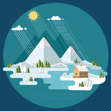 冬天风景山积雪覆盖的小山 平的传染媒介illust 免版税库存图片