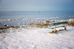 冬天风景有海视图 图库摄影