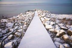 冬天风景有海视图 库存照片