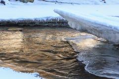 冬天风景河Hasaut,北高加索, Karachay雪儿 免版税库存照片
