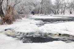 冬天风景河Krynka,顿涅茨克地区,乌克兰 免版税图库摄影