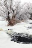 冬天风景河Krynka,顿涅茨克地区,乌克兰 库存图片