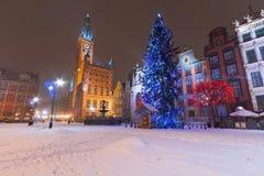 冬天风景的格但斯克与圣诞树 免版税库存图片