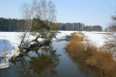 冬天风景的河 免版税库存照片