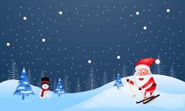 冬天风景背景,例证逗人喜爱的圣诞老人项目ridin 库存例证