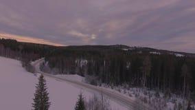冬天风景路天线雪 股票录像