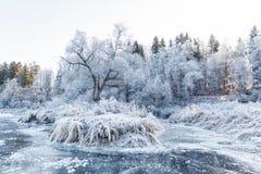 冬天风景,在冰下的河 免版税库存图片