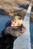 冬天风景,在冰下的河 免版税库存照片