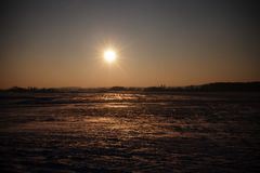 冬天风景,太阳 图库摄影