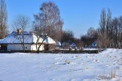 冬天风景,雪,村庄房子的看法 免版税库存图片