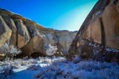 冬天风景, Capadoccia,土耳其 免版税库存图片