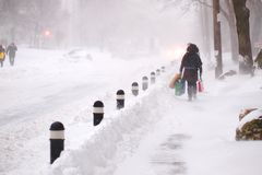冬天风暴击中多伦多 免版税图库摄影