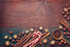 冬天香料和成份烹调的 库存照片