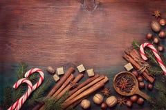 冬天香料和成份 免版税库存照片