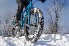 冬天骑自行车 免版税库存图片