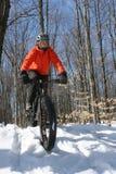 冬天骑自行车 图库摄影