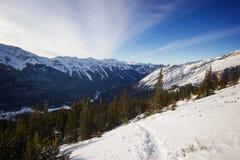 冬天高山从远足对Ha陵峰顶,班夫国家公园,加拿大山顶的足迹的土坎视图  免版税图库摄影