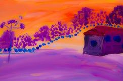 冬天黎明在村庄 向量例证