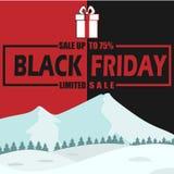 冬天黑星期五销售75%有限的传染媒介图象 免版税库存图片