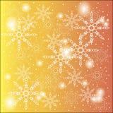 冬天,圣诞节,白色雪花圣诞节背景在一个橙黄梯度的与闪烁 免版税库存图片