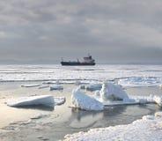 冬天,海,积雪的冰 免版税库存图片