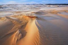 冬天,银色湖沙丘 库存照片