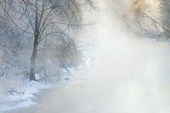 冬天,雾的Kalamazoo河 免版税图库摄影