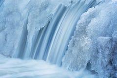 冬天, Portage小河小瀑布 免版税库存照片