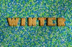 冬天 从可食的信件的词在给上釉的powd说谎 库存照片