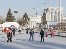 冬天滑冰场在莫斯科 免版税库存图片