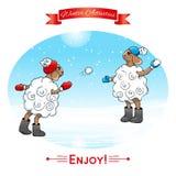 冬天活动 在雪球的羊羔戏剧 EPS, JPG 免版税库存图片